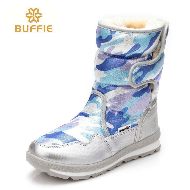 Buffie marca mujer zapatos de invierno impermeable grueso bootleg felpa piel caliente botas de nieve padres botas altas más el tamaño 41 venta caliente gratis