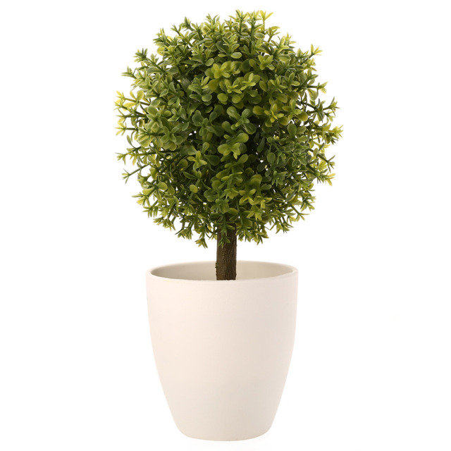 Mayitr 1pc Mini Topiary Artificial Trees Potted Ball Shape Fake Plants Tree for Wedding Garden Outdoor Bonsai Home Decoration