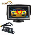 """BEMTOO Carro Estacionamento Câmera Auxiliar Leds Noite para Vision Veículos Invertendo Camera + 4.3 """"Tft Monitor de Visão Traseira Do Carro câmera"""