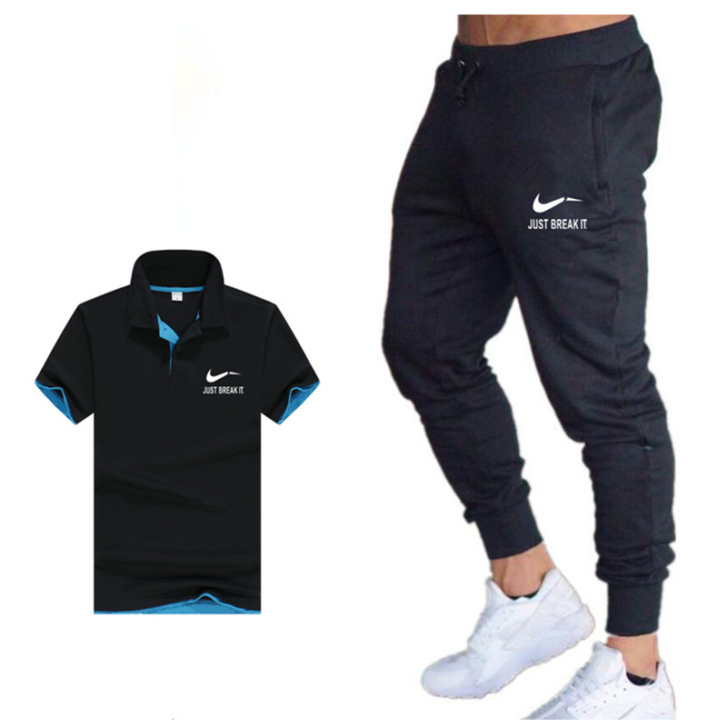 2019 Gym Workout Clothes Spring Hot Men's Suit Fashion Brand Polo Shirt + Pants Two Sets Of Casual Sportswear Men's Polo Shirt