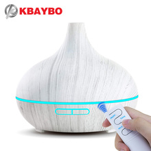 KBAYBO 550ml Remote Control Ultrasonic Electric Air Humidifier Aroma Oil Diffuser White Wood Grain 7 colors LED Lights for home