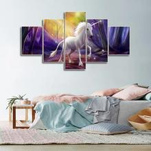 Laeacco Canvas Calligraphy Painting Abstract 5 Panel Unicorn Wall Art Animal Poster and Print Nordic Home Living Room Decoration