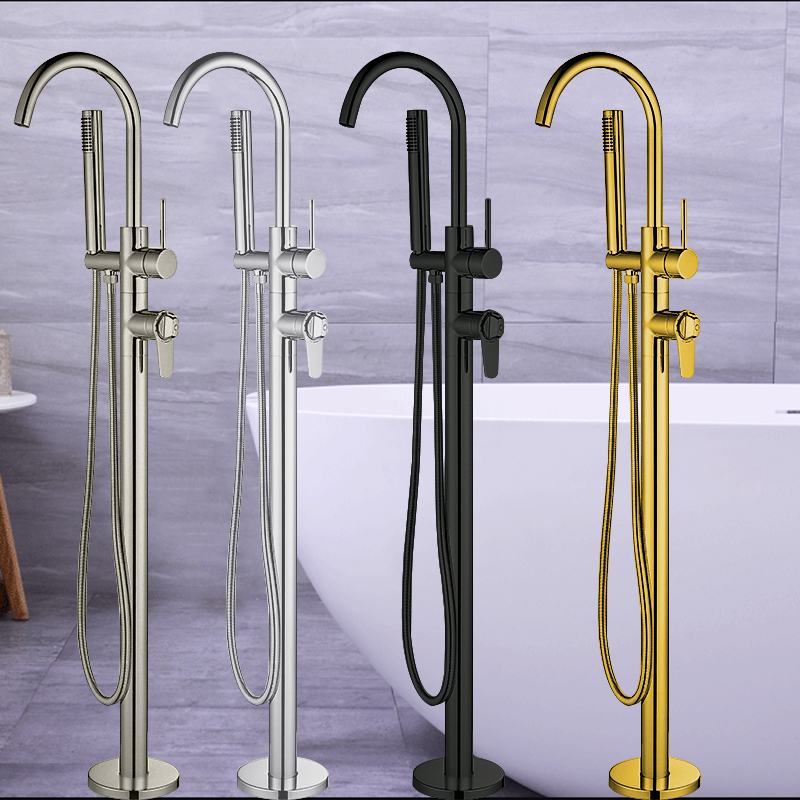Thermostatic Floor Mounted Bathtub Faucet Bathroom Faucets Floor Stand Faucet Mixer Tap Hand Shower Faucets Tub Spouts