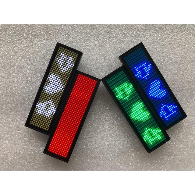 Led 名バッジ、 44x11 ピクセル赤青緑白の色のための usb 充電式 led 名タグ記号チェストカードラベル