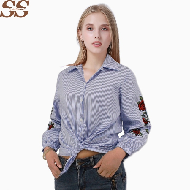 cfa1689cabf44 SPARSHINE Women Embroidery Striped Blouses Office Shirts Summer Style  Embroidered Tops Blusas Plus Size 4XL Casual Chemise Tops