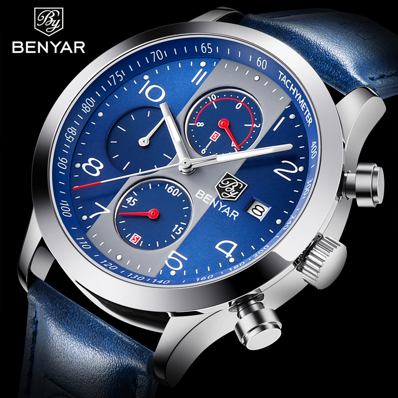 BENYAR 2018 New Fashion Chronograph Sport Watches Men Leather Strap Brand Quartz Blue Watch Clock Relogio Masculino Reloj Hombre