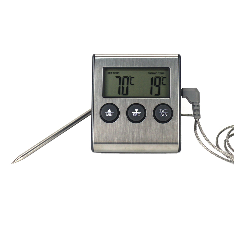 Digital BBQ Cooking Oven Thermometer Meat Kitchen Food Temperature Meter For Grill Timer Function With Stainless Steel Probe(China)