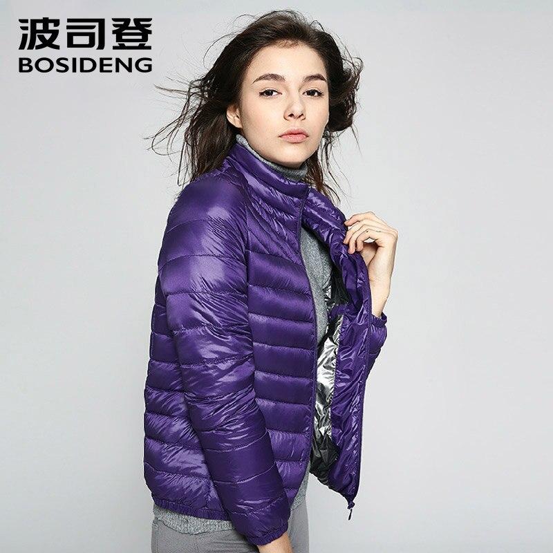 BOSIDENG Ultra Light Women Short slim 90 Duck Down Coat strip Trend Solid Color Winter down Jacket Women Big size B1401030 1