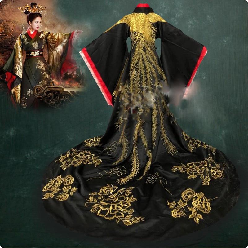 Black Embroidery Gorgeous YangMi Male Female Costume Hanfu For Newest TV Play Empress Of Fu Yao Drama Costume ZhangSun Wuji
