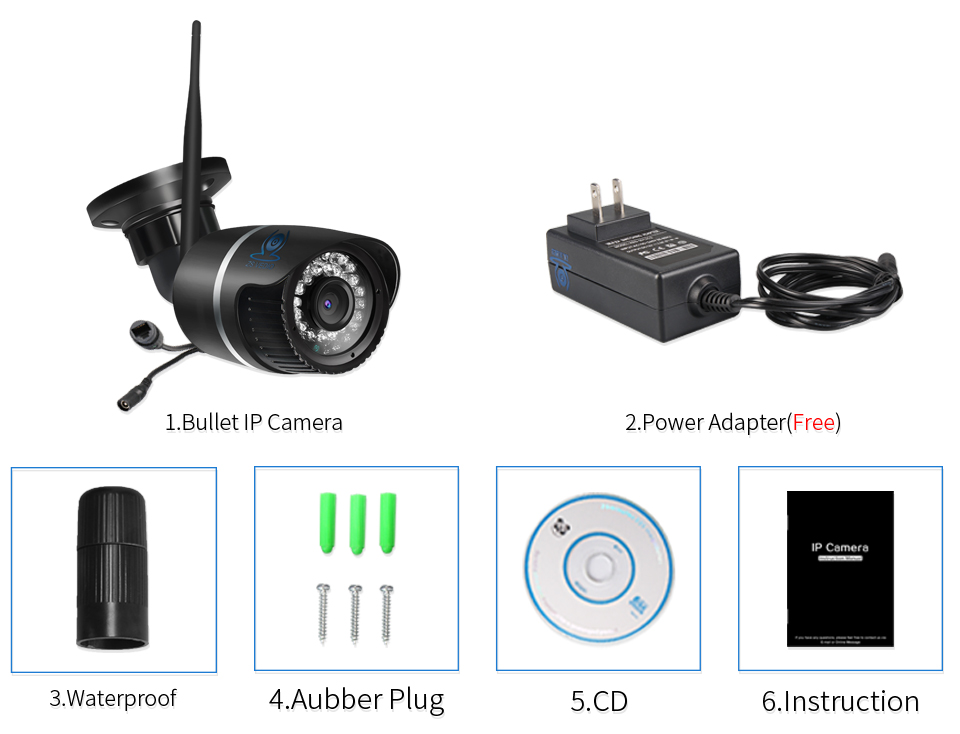 ZSVEDIO Surveillance Cameras IP Camera OnVif IP Cameras Wi Fi IP66 Outside Wireless 1080P HD 2MP Black 2.8mm Camera CCTV (18)
