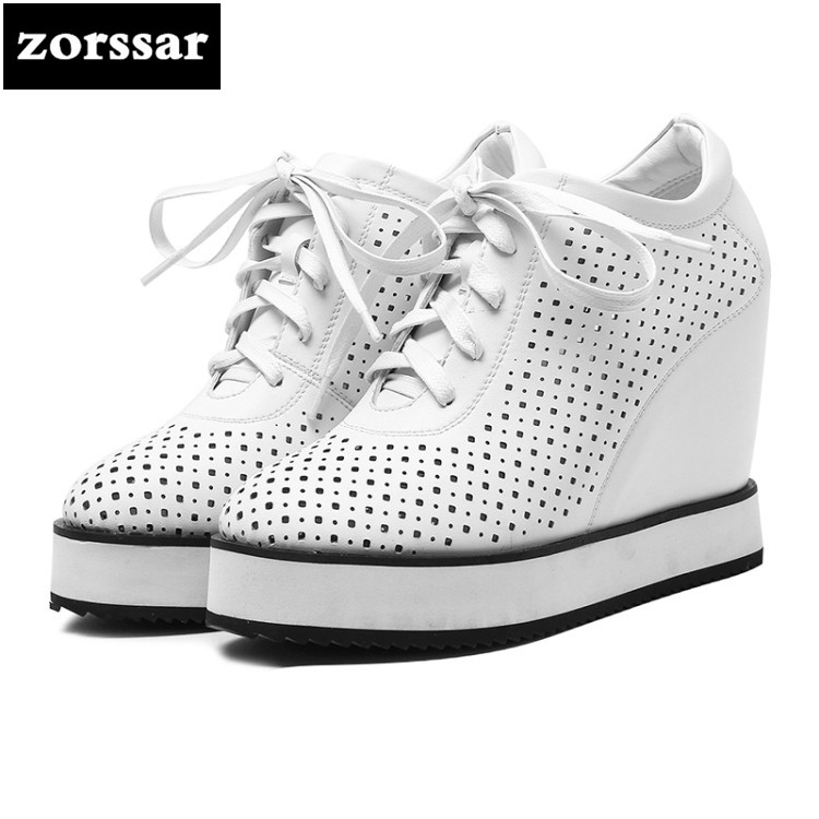 {Zorssar} 2018 New Genuine Leather casual womens shoes pumps Lace up increased internal High heels shoes women platform shoes шапка kama kama ka022cumpn82
