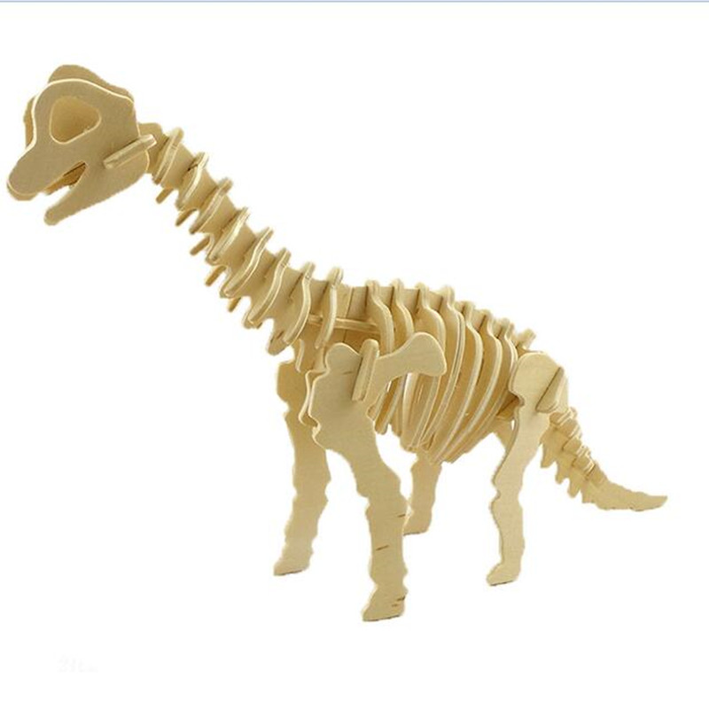 3D Dinosaur Model Puzzles Wooden Puzzles DIY Toy Woodcraft Handmade Toy Learning Educational Toys For Children Kids Adult