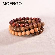 Pulseira de madeira natural, bracelete de contas de madeira natural para equilíbrio de cura, yoga, meditação, pulseira para amantes, pulseira chakra de presente para mulheres e homens