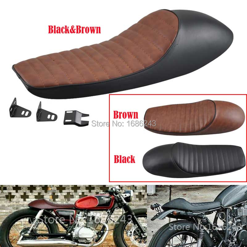 Universal Black/&Red Flat Motorcycle Seat Cafe Racer Vintage Saddle Fit For Honda