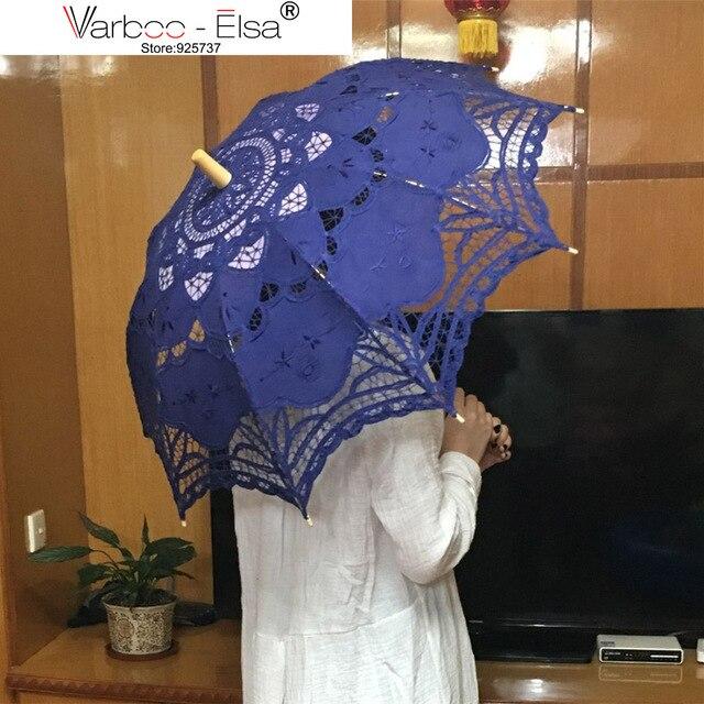 Lace Umbrella Vintage New Blue Parasol Clical Fancy Bridal Accessories Long Handle Wedding