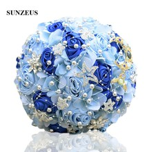 Romantic Light Blue Flowers Wedding Bouquet Pearls Shiny Stars Royal Artificial Bridal huwelijk  SWB08