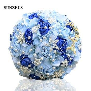 Romantic Light Blue Flowers Wedding Bouquet Pearls Shiny Stars Royal Artificial Bridal huwelijk  SWB08