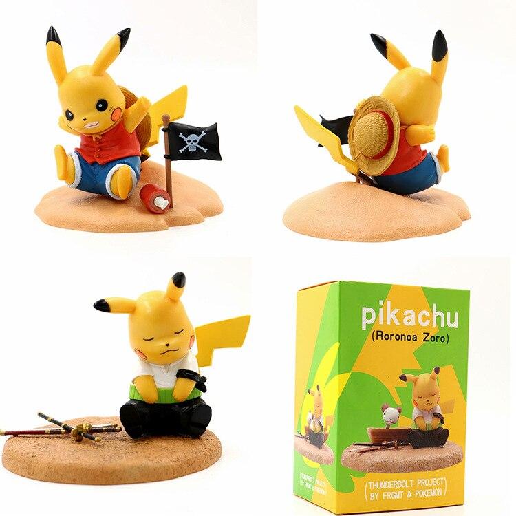 Takara Tomy Pokemon Anime Pikachu Cosplay One Piece Luffy Action Figures Collectible Toys 12cm