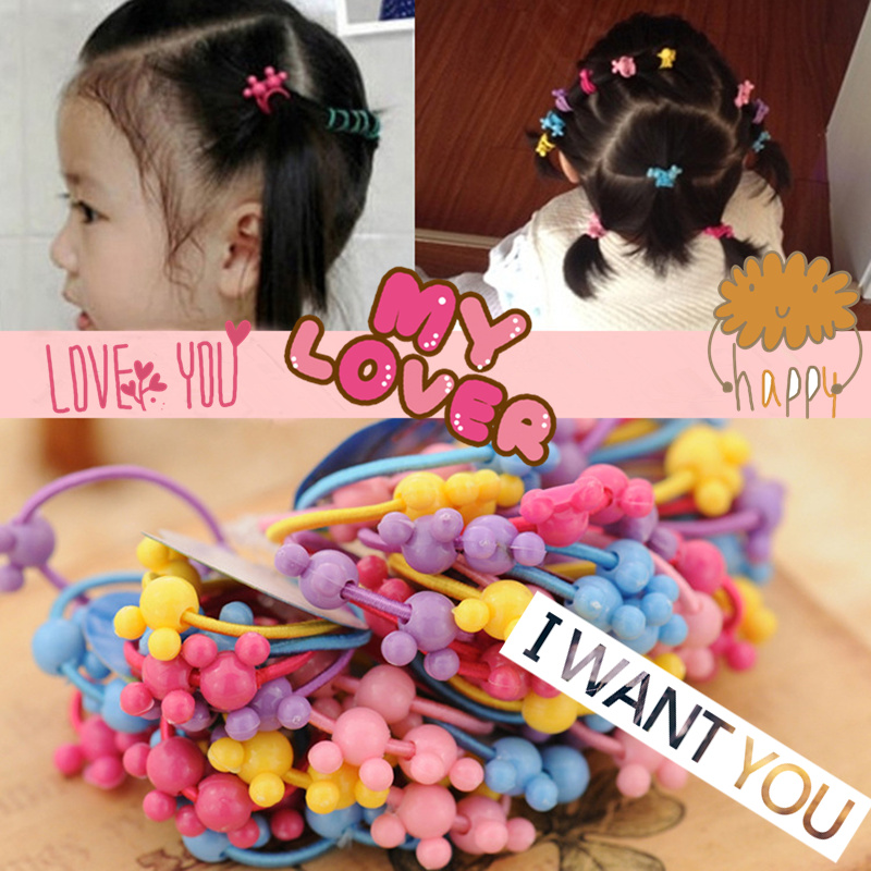 50pcs/bag 35mm Cartoon Candy Colored Child Baby Kids Ponytail Holders Hair Accessories For Girl Rubber Band Tie Gum (Mix Color) 30pcs candy fluorescence colored hair holders high rubber baby bands hair elastics accessories girl women tie gum and spring