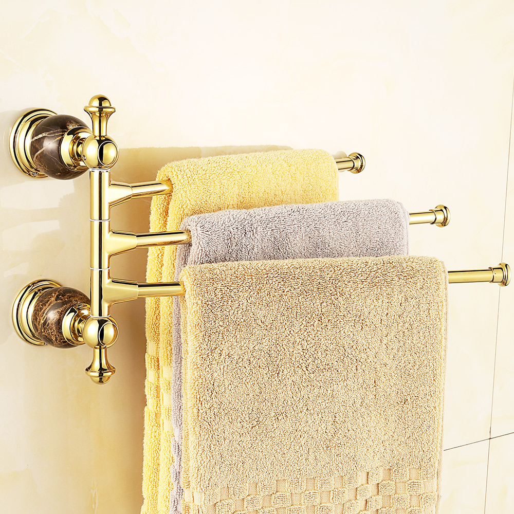 Vintage Gold Marble Rotary Activities Towel Holder Rack European Diamond Moving Pole Jade Towel Bar Bathroom Accessories hk6 continental gold product towel rack bar activities multi pole design