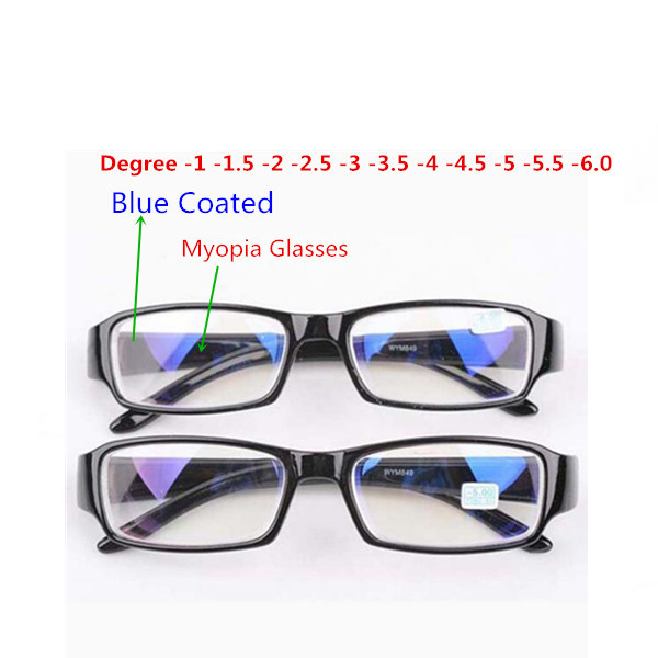 Fashion Mens Women Unisex Myopia <font><b>Glasses</b></font> nearsighted Eyewear with Blue Coated -<font><b>1</b></font> -<font><b>1</b></font>.<font><b>5</b></font> -2 -2.<font><b>5</b></font> -3 -3.<font><b>5</b></font> -4 -4.<font><b>5</b></font> -<font><b>5</b></font> -<font><b>5</b></font>.<font><b>5</b></font> -6.0 image
