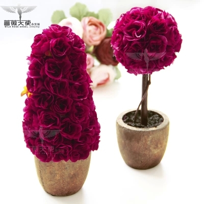 Free shipping hot sale European rural clay with mei red rose simulation plant simulation flower suits for home decoration