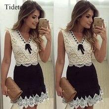 Neue ankunft v-ausschnitt sleeveless mini cocktail dress weiß spitze-patchwork hochwertigen frauen dress a-line bogen elegante dress