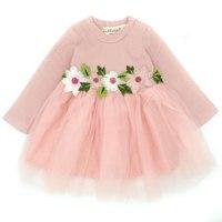 Niñas vestido primavera otoño niña vestido Tutu vestido Vestido de manga larga flor otoño nueva princesa boda Vestido de Partido Popular
