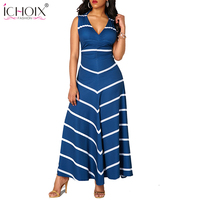 Women Sexy V Neck Striped Floor Length Dresses Vintage Winter Autumn Back Hollow Out Sleeveless Long