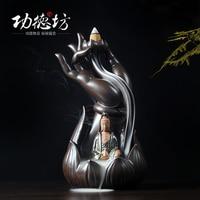 Buddha Guanyin Buddha incense burner with Aloes back ceramic furnace bergamot aromatherapy creative ornaments Tower furnace