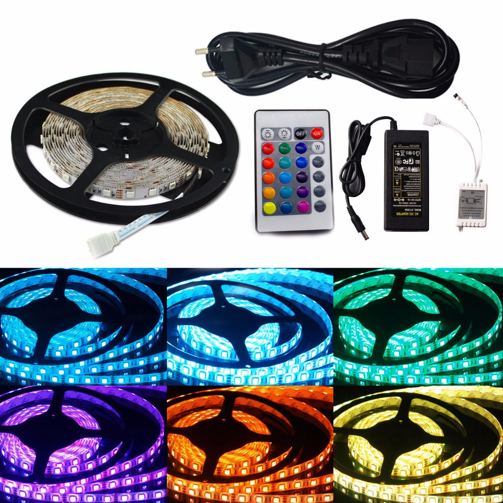 5M SMD RGB 5050 Waterproof/Non-Waterproof led flexible flat strips light 300 LED + 24 Key IR Remote + 12V 5A power