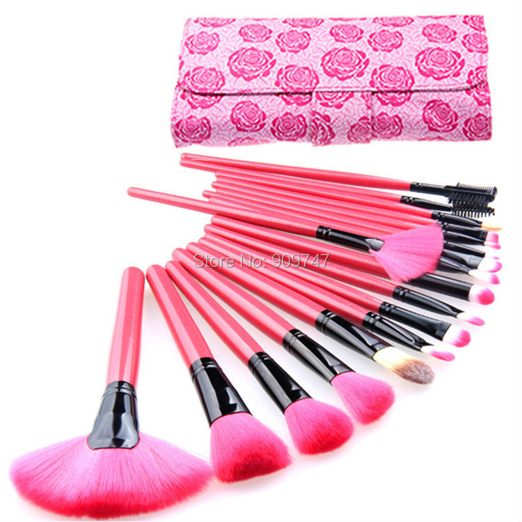 цена на Professional Makeup Brushes Set 18Pcs Brushes in rose Case Makeup cosmetic Brushes & Tools