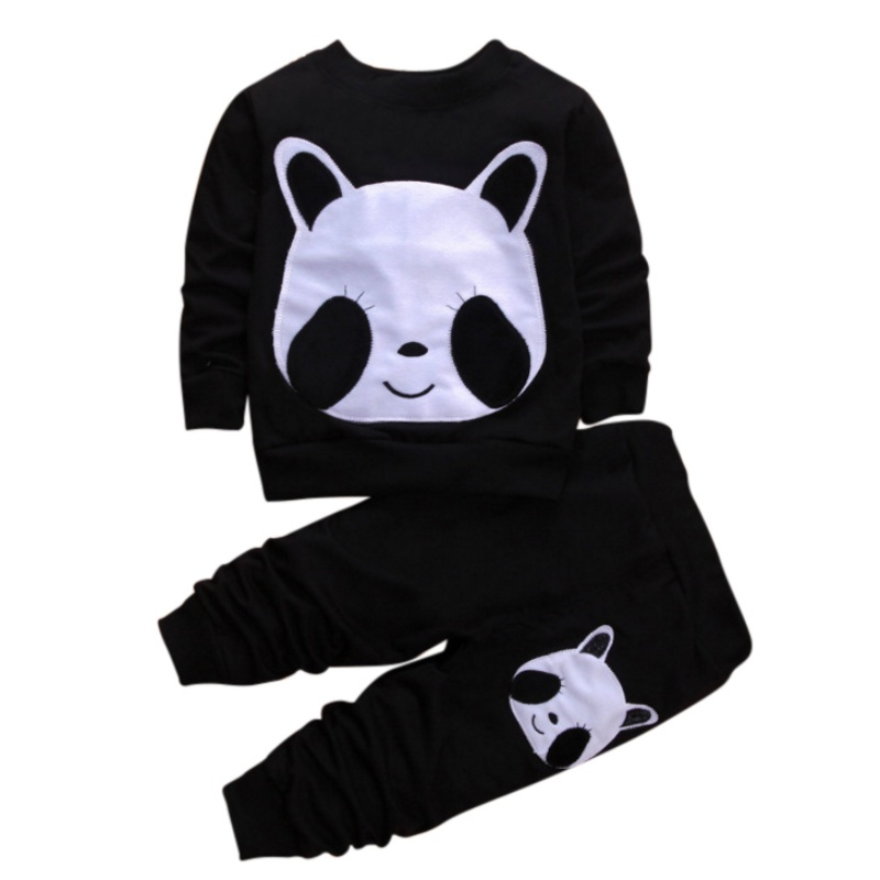 Childrens Cute Print Clothing Sets Boys Girls Warm Long Sleeve Sweatshirt + Pants Fashion Sports Suit Autumn Winter