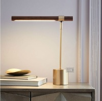 46cm Height Bronzing Metal Table Lamp with Brass Coating Base and Wooden Grain Finish Head