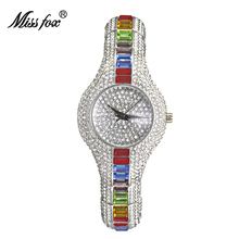 Miss Fox Ladies Silver Bracelet Watches For Women Luxury 30mm Small Women's Watch Quartz Austria Silver Crystal Rhinestone Watch