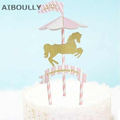 Miraculous Carousel Horse Pegasus Cake Topper Creative Horse Cupcake Flags Personalised Birthday Cards Xaembasilily Jamesorg