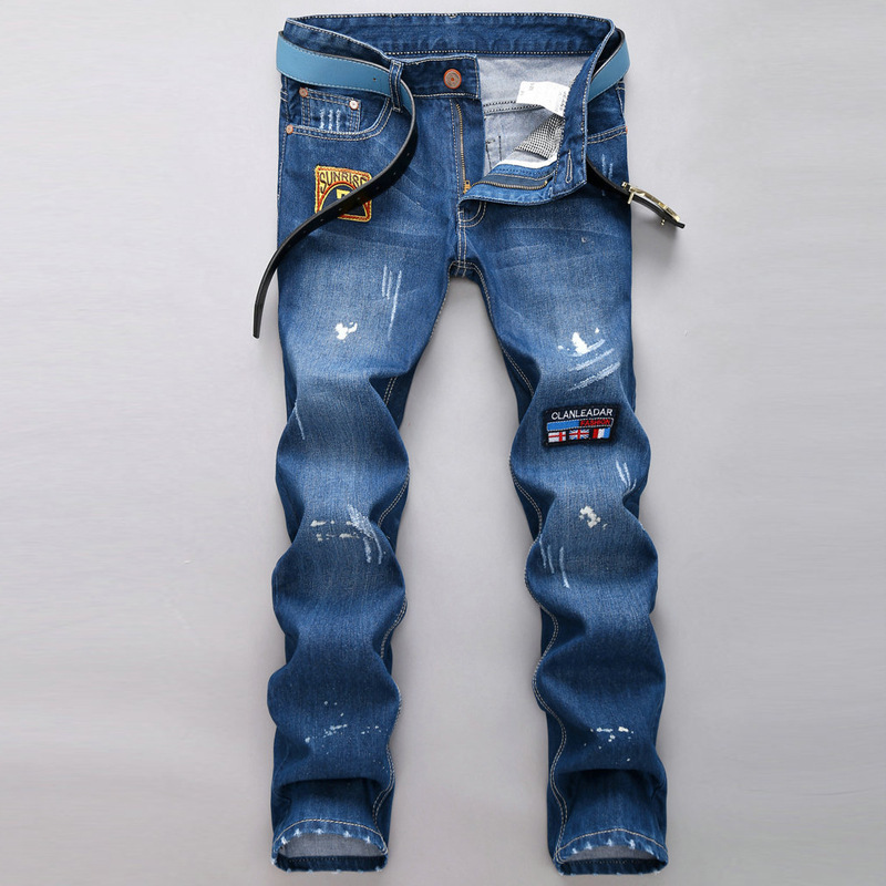 mens fashion jeansmen skinny jean overalls Appliques Spliced Patchwork slim jeans ripped printed pantalones vaqueros - JACK ANTONG SHOP store