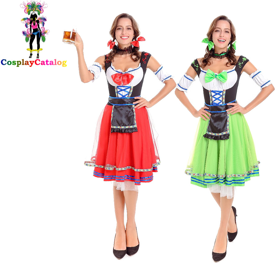 Green/Red Germany Oktoberfest Sexy Women Maid Costumes Beer Adult Ladies Waiter Costume Cute Girl Carnival Dress Size M/XL