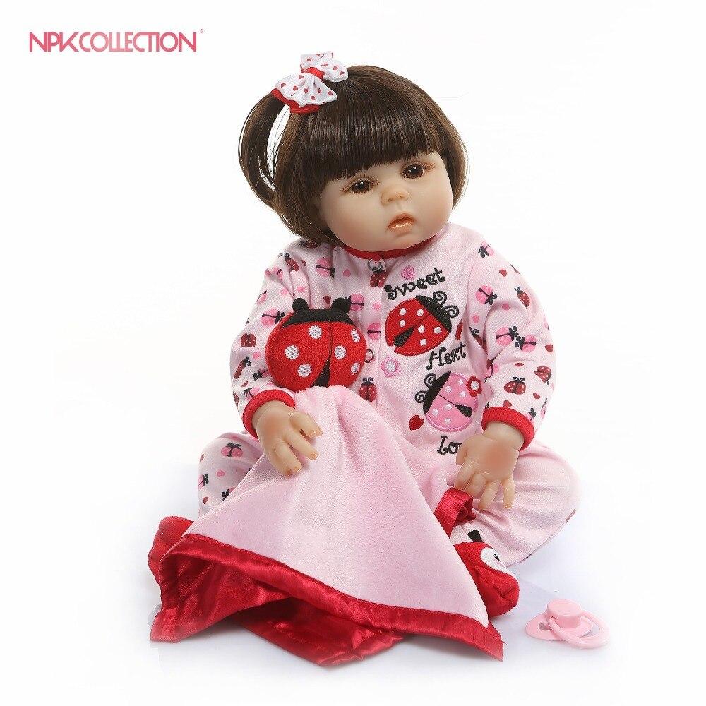 Npkcollection 연약한 실리콘 48 cm bebes reborn dolls 살아있는 아기 소녀 인형 장난감 아이 playhouse 소녀 생일 선물 brinquedo-에서인형부터 완구 & 취미 의  그룹 1
