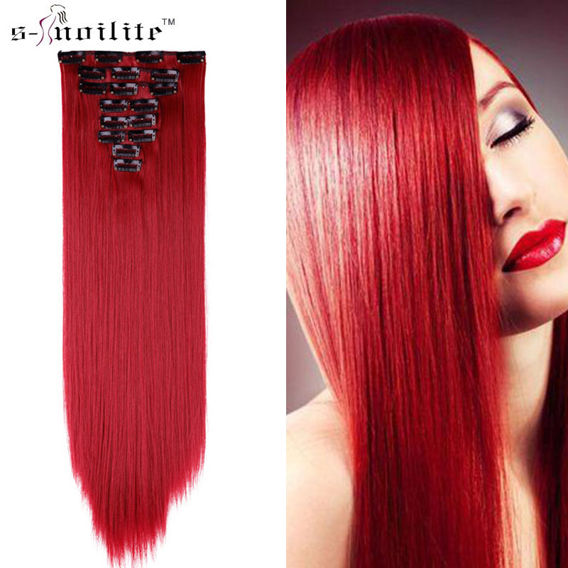 Hot Sale Snoilite 23inch Dark Red Hairpiece 170g Straight 18 Clips
