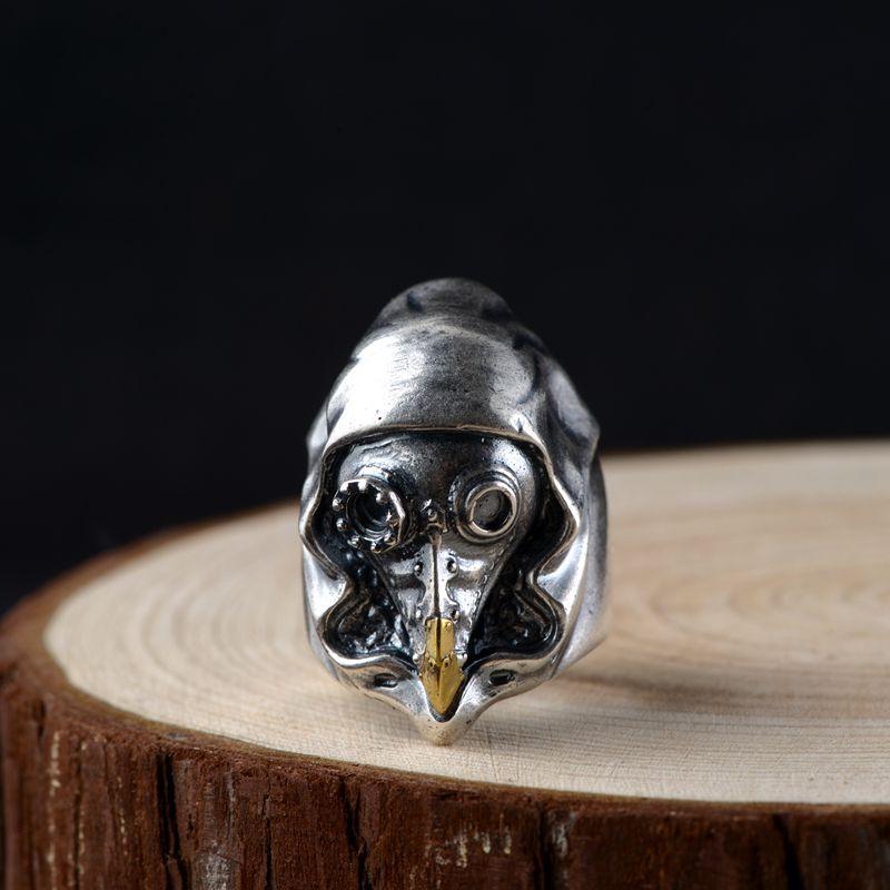 S925 argent Vintage bague en argent mâle mode anneau mécanique ouvert J280