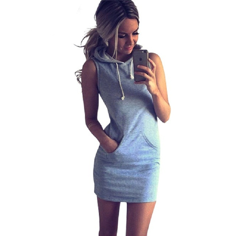 Moda de verano hoodies dress bolsillos sin mangas para mujer sexy bodycon dress