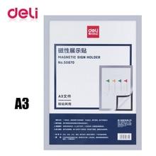 Magnetic-Sign-Holder Whiteboard Hanging Presentation Strong-Suction Folde Deli A3 Soft