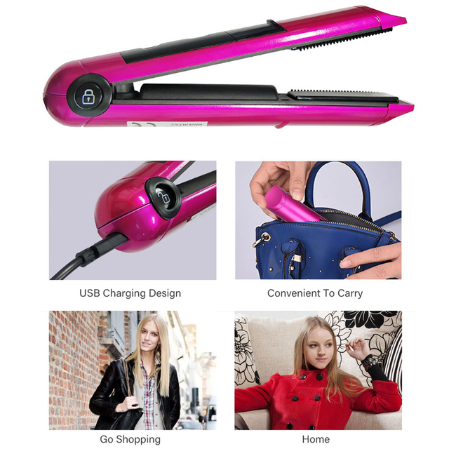 2 in 1 USB Rechargeable Hair Straightener