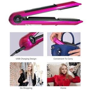 Image 4 - Pritech chapinha de cabelo portátil, recarregável usb profissional, mini alisador de cabelo, com display led, sem fio, ferramenta para pelos