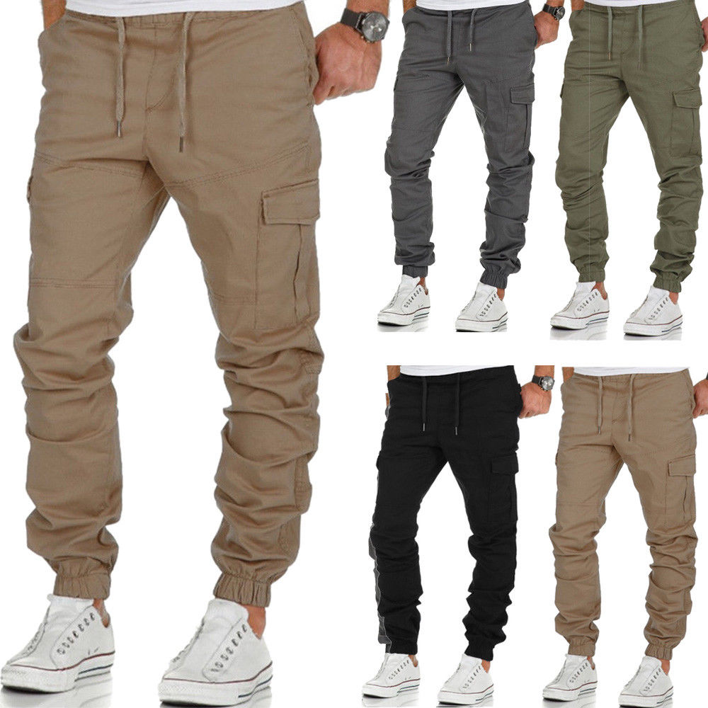 2019 New Mens Urban Jogger Cargo Straight Leg Slim Fit Trousers Casual Pencil Pants in Cargo Pants from Men 39 s Clothing