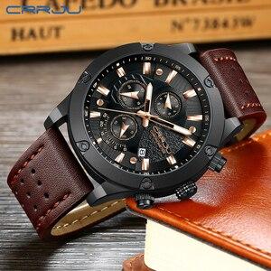 Image 4 - Big Dial Clock CRRJU Relogio Masculino Fashion Sports Quartz Mens Watches Top Brand Luxury Military Leather Waterproof Watch men