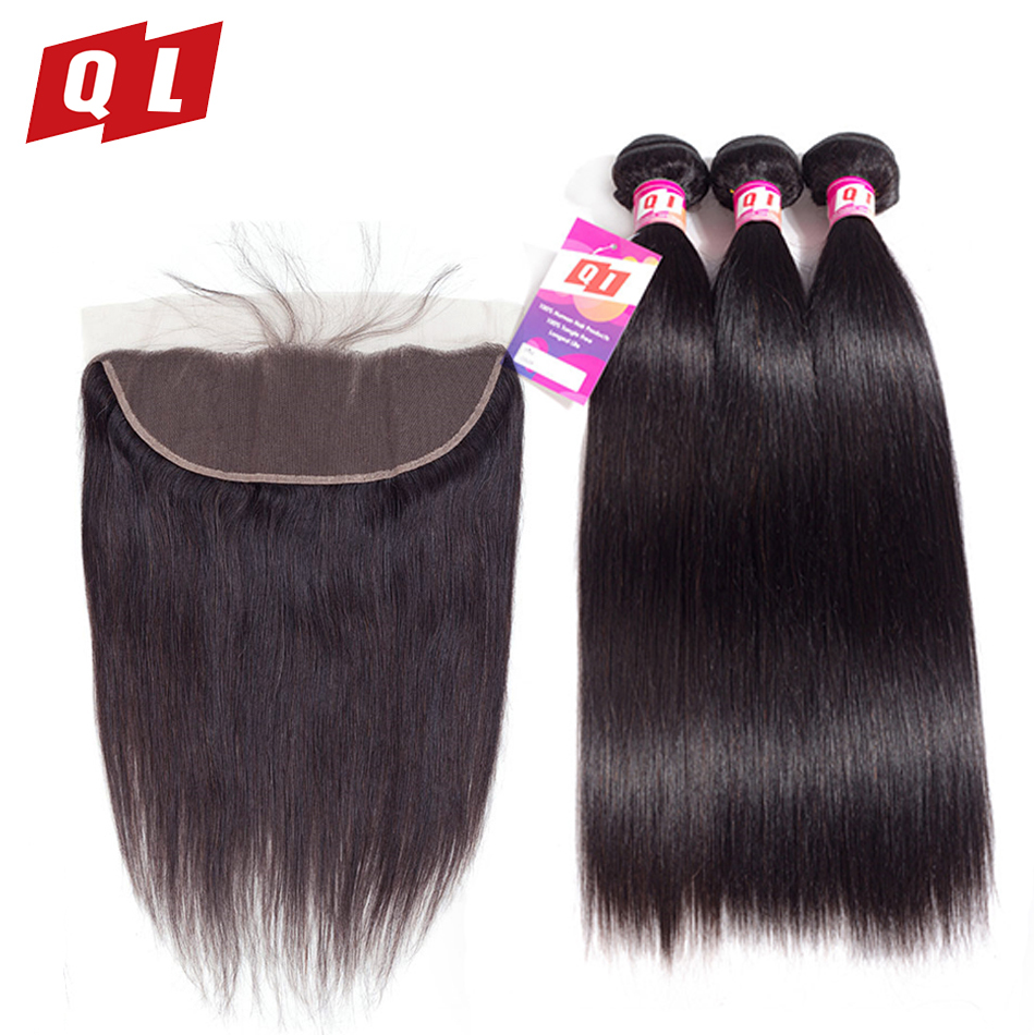 QLOVE HAIR Bundles With Frontal Closure 13x4 Human Hair Straight Malaysian Weave Bundles 4 PCS Non