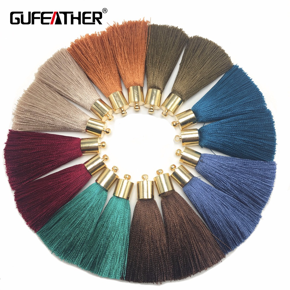 GUFEATHER L95/5CM/jewelry Accessories/silk Tassel With Cap/diy Jewelry/earings Making /Tassel Necklace/embellishments/4pcs