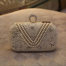 2017 High Quality Custom Made Women's Pearl Evening Bags Craft Pearl Beads Clutch Bag Purse Wedding Bags with Shoulder Chain